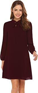 Women Casual Long Lantern Sleeve Solid A-Line Loose Chiffon Dress