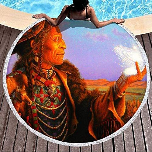 Serviettes de Plage Native American Tribe Chef Blanc Serviette de Plage Ronde légère sans Sable Serviette de Bain Robes pour Femmes Hommes garçon Fille Enfants