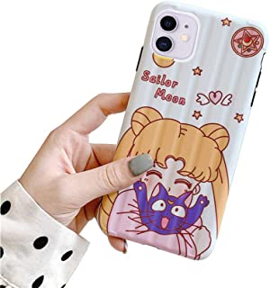 MC Fashion iPhone 11 Case, Cute Vibrant Glossy IMD Sailor Moon Luna Cat Case, Slim Fit Black Bumper Full-Body Soft Protect...