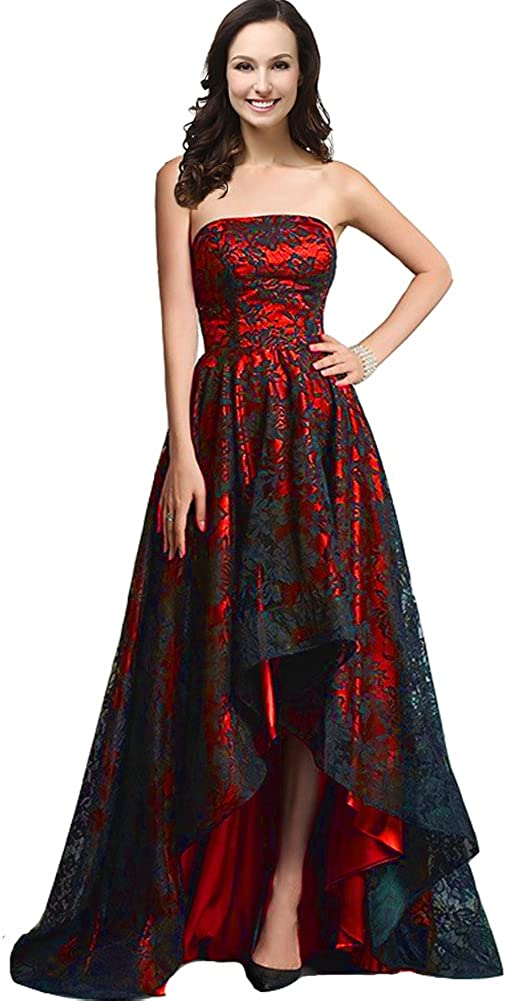 Kivary Strapless Black Lace High Low Long A Line Corset Prom Evening Dresses