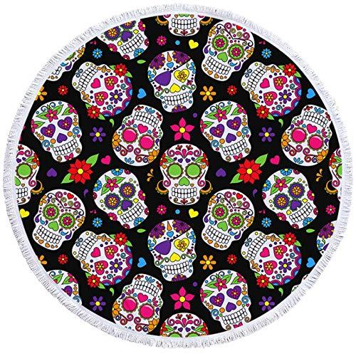 Colorido cráneo redondo toalla de playa borla floral tapiz acuarela flor yoga Mat gótico toalla manta 150 cm