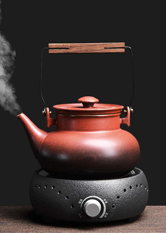 Poterie en céramique de thé de poterie de thé de Pot de santé de Pot de thé Ensemble rétro de thé Noir Japonais d'infusion de poterie de poterie de théière de ménage   1.5Kg   1000W   21  21  22Cm