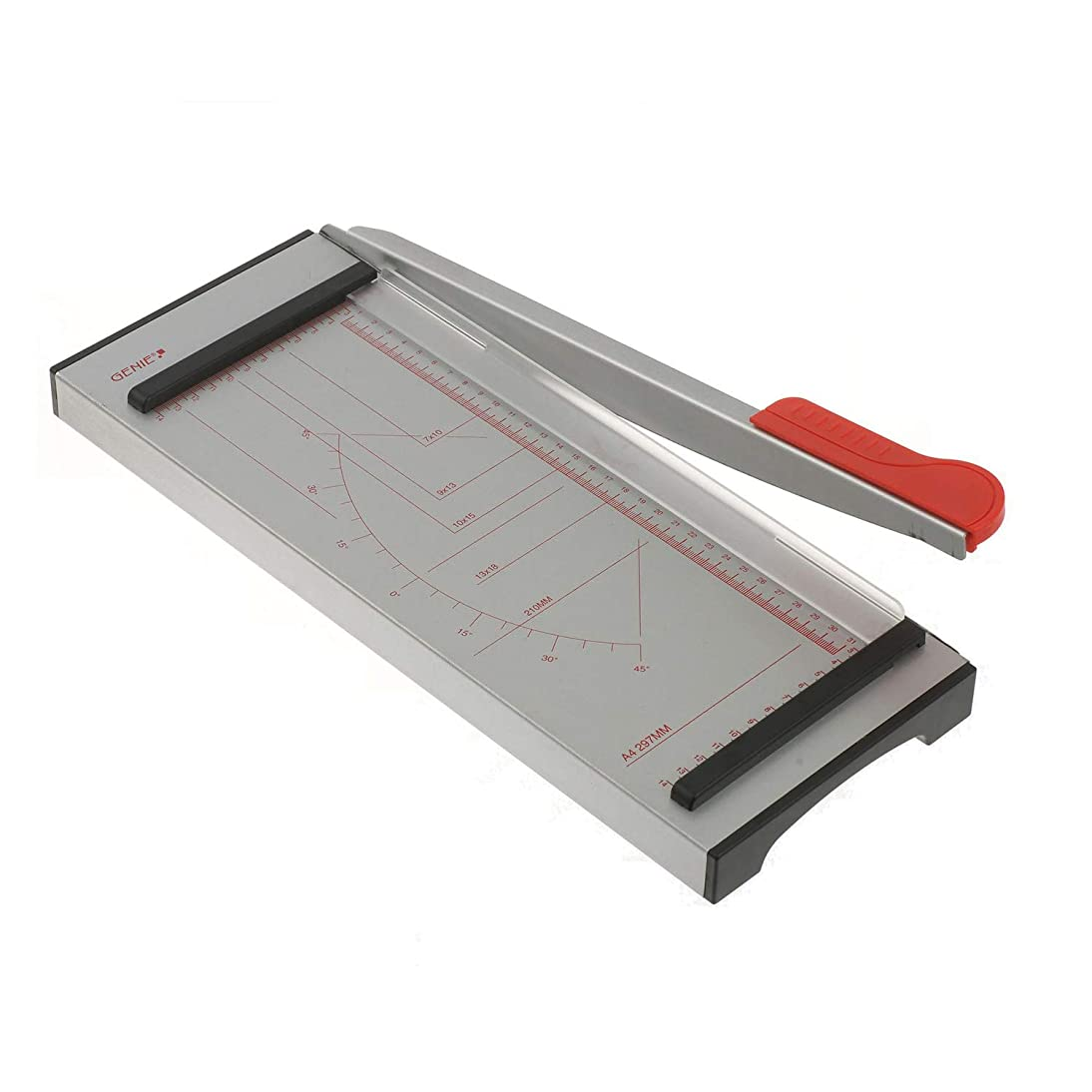 Genie GH 40 Paper Guillotine for up to 6 Sheets/Formats up to DIN A4 Metal Work Surface with Gradients Grey/Red