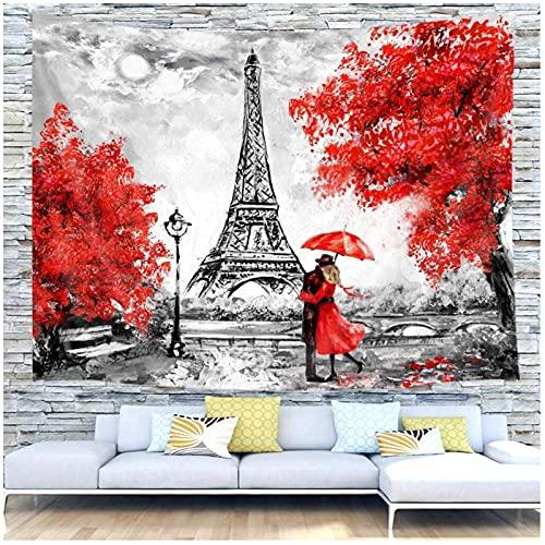 KBIASD Tapiz de París, Arte para Colgar en la Pared, decoración del hogar, Paisaje de la Ciudad Europea, Francia, Torre Eiffel, Negro, Blanco, Rojo, Pareja Moderna, 150x130cm