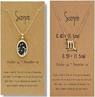 2 Pcs Zodiac Coin Necklace 12 Constellation 14K Gold Plated Round Pendant Astrology Horoscope Necklace Zodiac Sign Birthda...