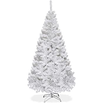 Goplus Artificial Christmas Tree Xmas Pine Tree with Solid Metal Legs Perfect for Indoor and Outdoor Holiday Decoration (White, 5 FT)