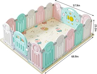Baby Playpen Kids Activity Center Portable Foldable Safety Fence Play Area With Lock Door Playard For Girls Boys Indoor Outdoor Babies Products  Size panel