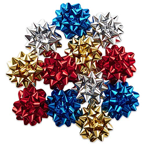 Hallmark Holiday Gift Bow Assortment (12 Bows) Sparkly Red, Blue, Gold, White for Christmas, Hanukkah, Birthdays, Weddings, Bridal Showers