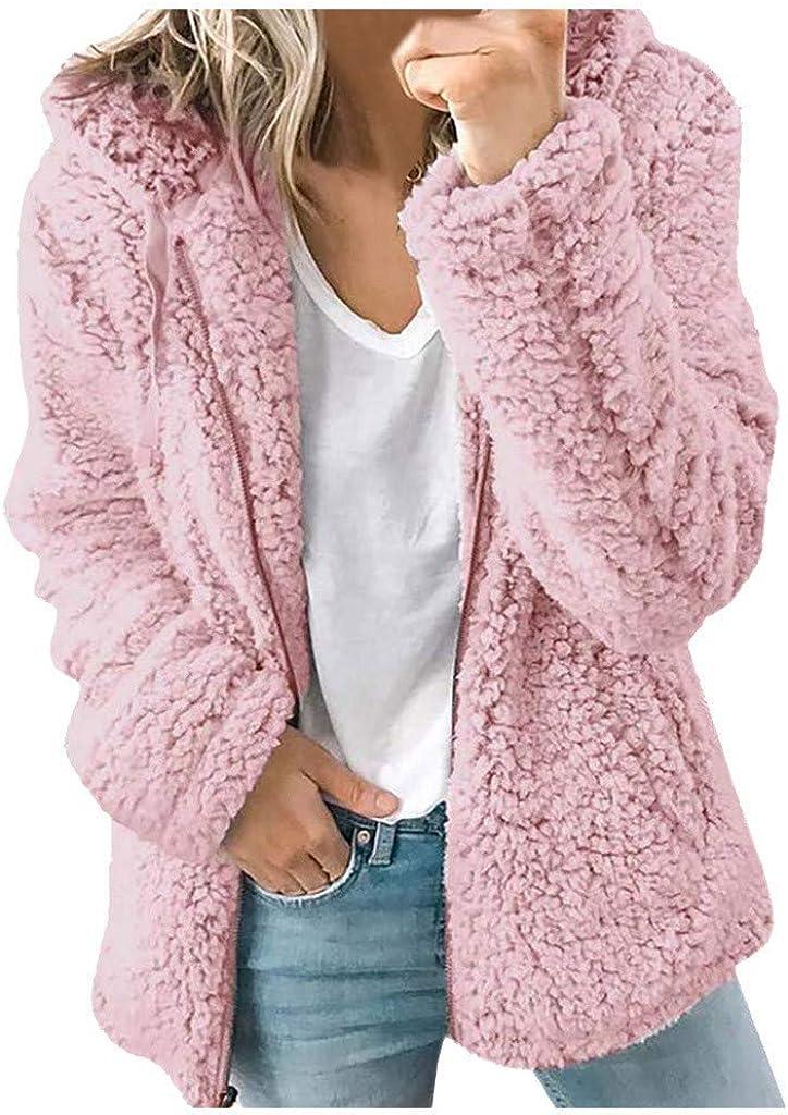 aihihe Womens Faux Fur Jackets Coats Zip Up Warm Winter Long Sleeve Lapel Casual Fleece Fuzzy Coat Jacket Parka Outwear