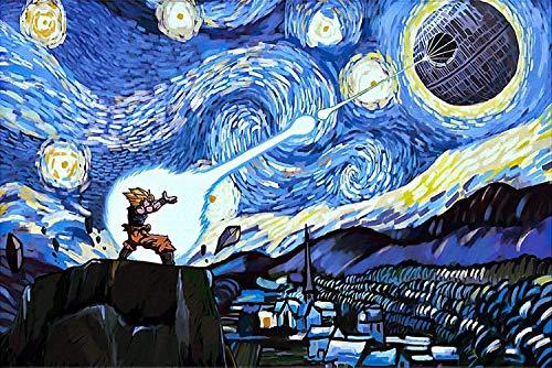 Goku Vs Death Star Starry Night Van Gogh Poster Dragon Ball Z Poster Super Saiyan Horizontal Poster | Funny Gift for Home Decor Wall Art Print Poster | Full Size 18x12 24x16 36x24 40x27 | Poster
