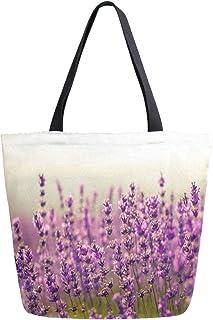 HMZXZ RXYY lila Lavender Blumes Segeltuch Tasche Schwer Pflicht Groß Frauen Beiläufig Schulter Tasche Handtasche Wiederverwendbar Einkaufen Tasche Bag für Draußen Reise