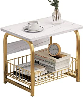 KH Modern End Table Accent Living Room Storage Small End Table with Faux Marble Table Top and Gold Metal Frame for Living ...