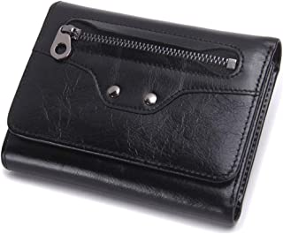 Leather Men's Wallet Leather Short Paragraph Multi-Function Fashion Clutch Wallet Smiley Purse Waterproof (Color : Black, Size : S)