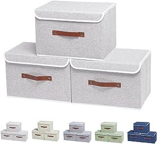 Caisses de rangement, Lot de 3 Boîtes de rangement, boîtes de rangement pliables avec couvercles, bac de rangement pliable...