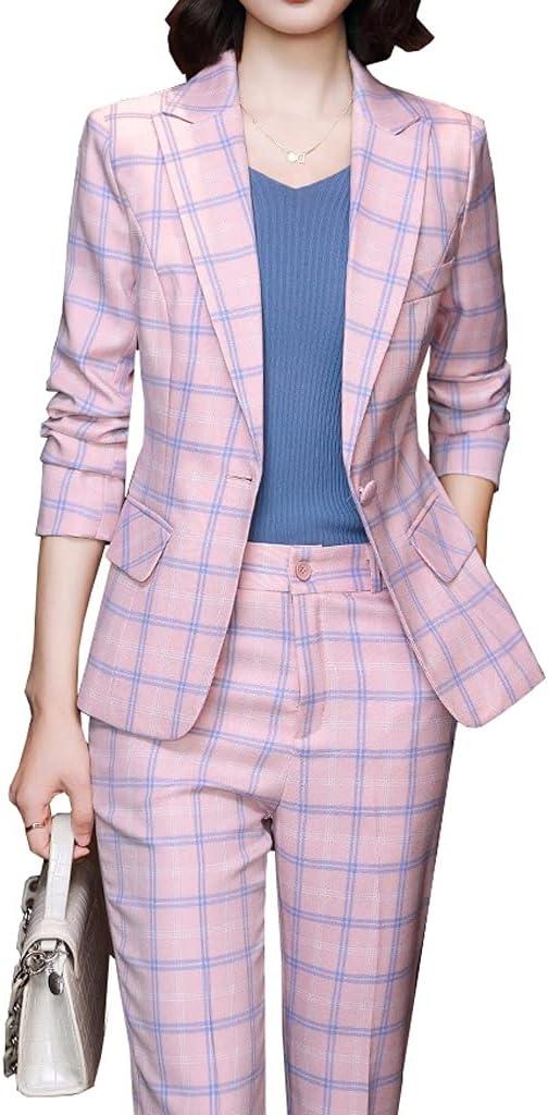 CFSNCM Plaid Women Blazer and Pant Suit Trouser Ladies Female Formal Office Work Business 2 Piece Set (Color : A, Size : 4XL code)