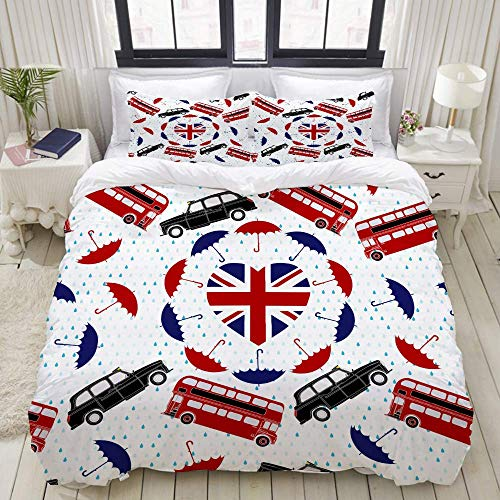 Juego de Funda nórdica, Love United Kingdom Symbol Heart Flag, Juego de Cama Decorativo Colorido de 3 Piezas con 2 Fundas de Almohada