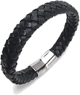 Loralyn Designs Wide Braided Black Leather Bracelet Mens Womens Stainless Steel Magnetic Clasp (7.5-9.5 Inch)