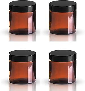 Paquete de 4 x 120ml Vidrio Ámbar Cosmético tarros Con Negro Tapas Apto Para Aromaterapia, cremas, geles , Sérums, cera, ungüentos etc