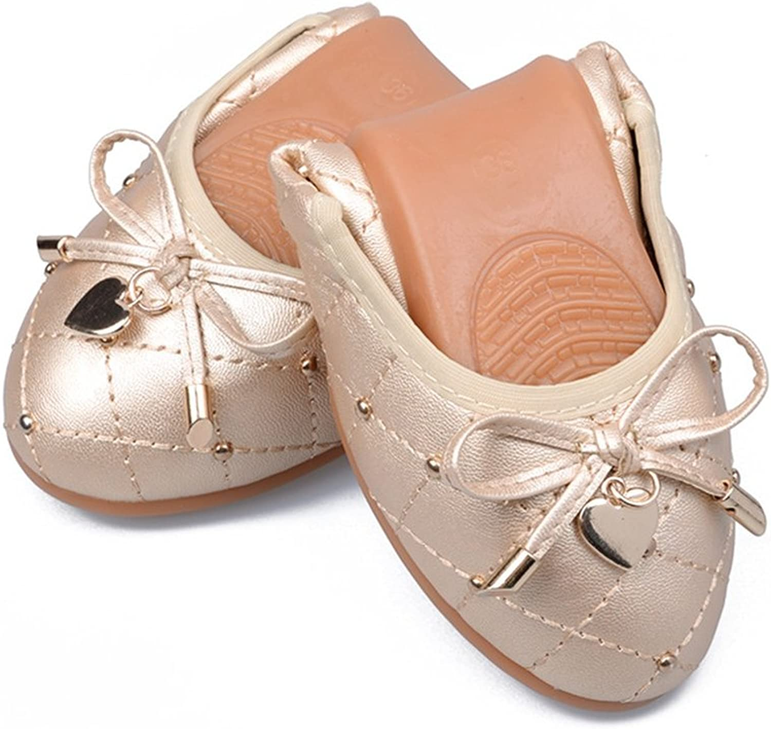 T-JULY Women's Ballet Foldable Slip On Cassual Flats Bow-Knot shoes