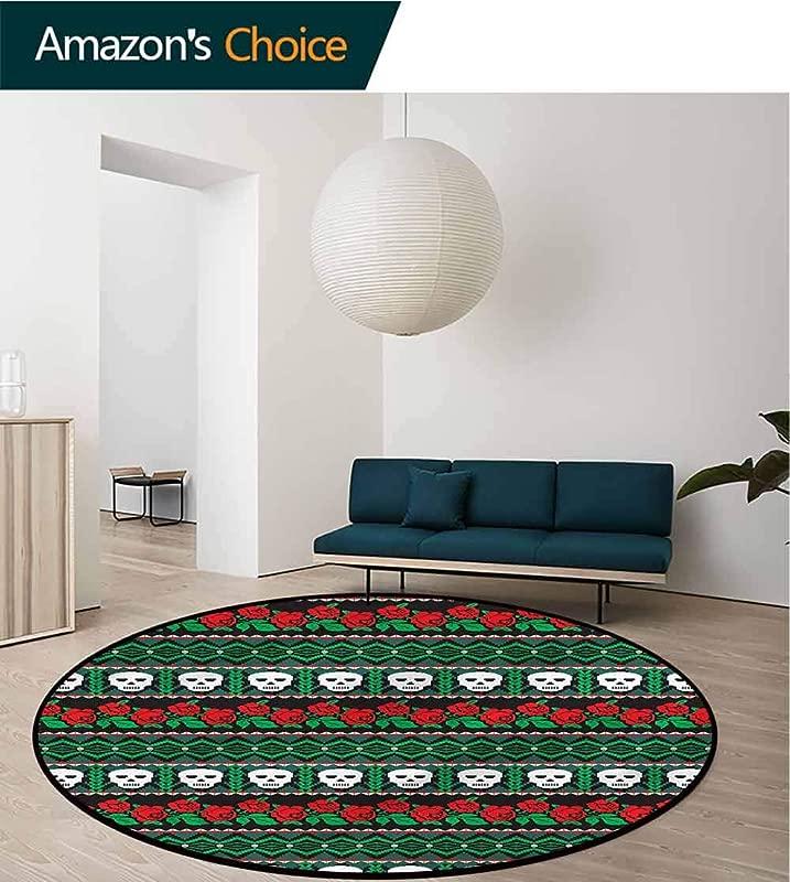 RUGSMAT Skull Super Soft Circle Rugs For Girls Folk Art Skulls Roses Non Slip No Shedding Kitchen Soft Floor Mat Diameter 47