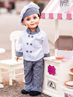 The Queen's Treasures Clothes and Accessories Compatible with 18 Inch American Girl Doll: Pastry Chef Clothing Outfit - Jacket, Hat, Pants, Shoes and Oven Mitt. Doll Clothes.