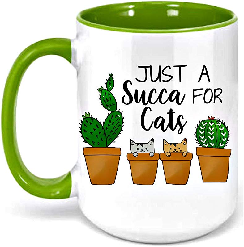 Succa For Cats Succulent Mug For Cat Lover 15 Ounces