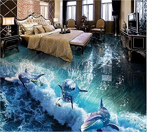 Papel pintado de suelo de pintura 3D personalizado adhesivo de PVC Dolphin Wave 3D baño pintura de suelo de sala de estar papel tapiz 3D-350x245cm