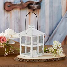 Kate Aspen 14135WT White Vintage Distressed Large Rustic Candle Holder Decoration Lantern, One Size