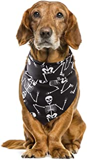 NACOCO Dog Halloween Pumpkin Bone Bandana Pet Bib Funny Scarf Collar Polyster Soft for Medium Large Dogs