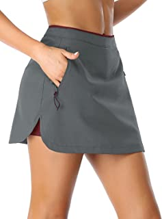 SEVEGO Women's Athletic Tennis Skirt with Built-in Shorts Side Pockets Mid Waisted Workout Training Golf Running Skorts