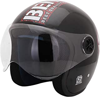 Sage Square ISI Certified Guardian Open Face Helmet for Cruiser Bike Royal Enfield (Medium, Black Glossy)