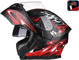 OUTO Descubrimiento Casco Motocicleta Montar al Aire Libre LED Advertencia de luz Trasera HD Espejo antivaho