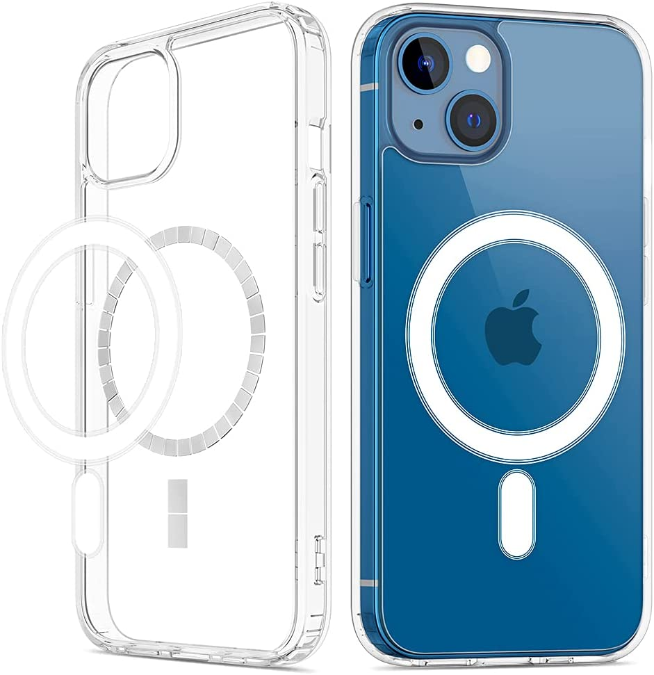 VEGO Clear Case Compatible with iPhone 13 Case, Magnetic Case with Built-in Magnets Compatible with MagSafe, Crystal Clear [Yellow Resistant] Slim Soft TPU Bumper Cover for iPhone 13 6.1