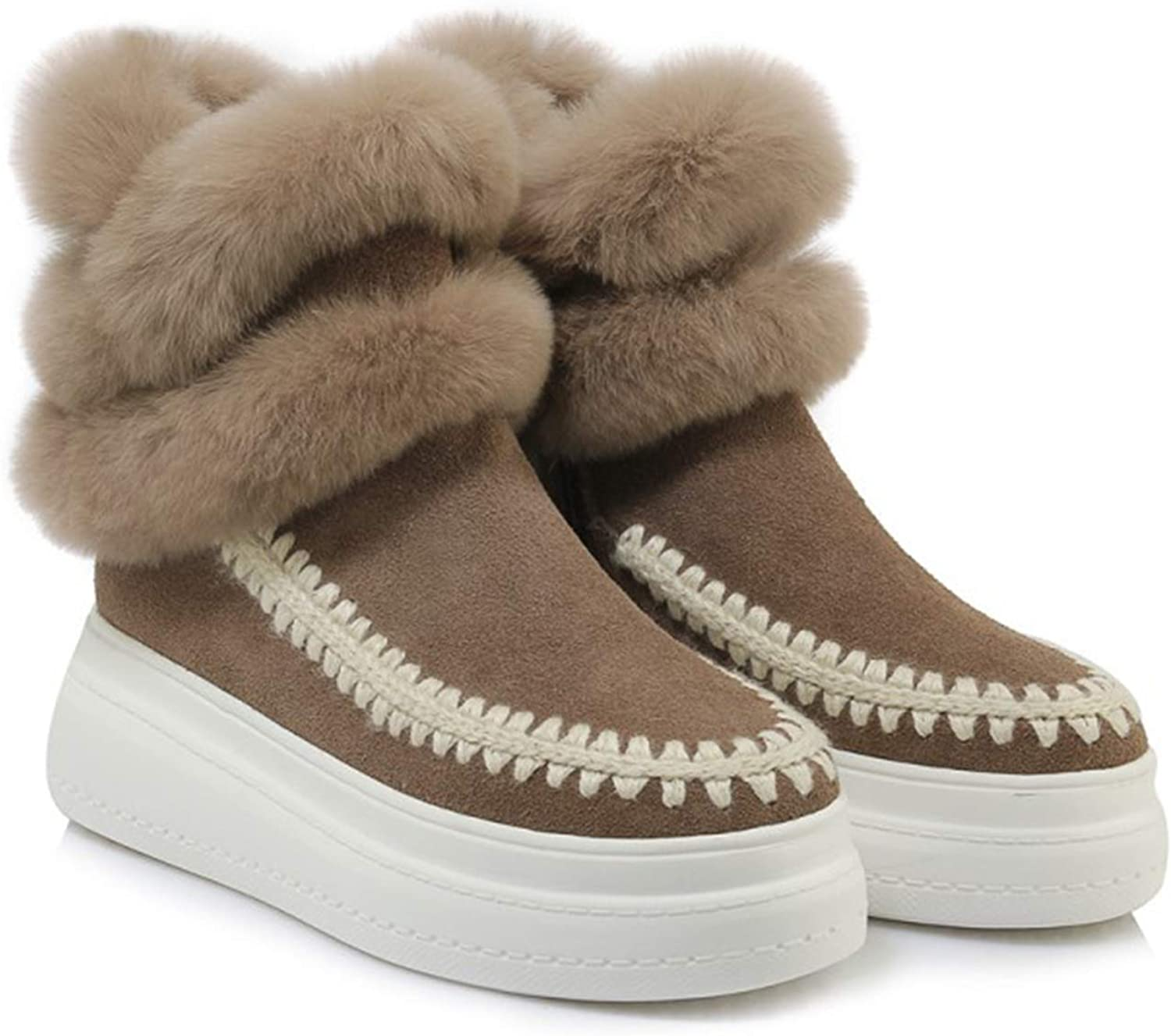 Stylish Personality Women's Snow Boots Warm Thicken Fur Lined Flat Sole Ladies Booties Suit for Winter Indoor & Outdoor Wear,Girls Gift