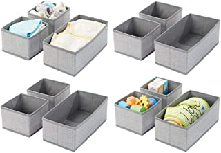mDesign Soft Fabric Dresser Drawer and Closet Storage Organizer for Kids/Toddler Room, Nursery, Playroom, Bedroom - Herringbone Print - Organizing Bins in 2 Sizes - Set of 12 - Gray
