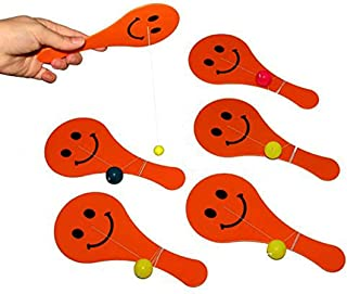 Toy Cubby Paddle Ballgame Set of 8 - Bright Orange 7 Inch Paddles with Multicolor Balls