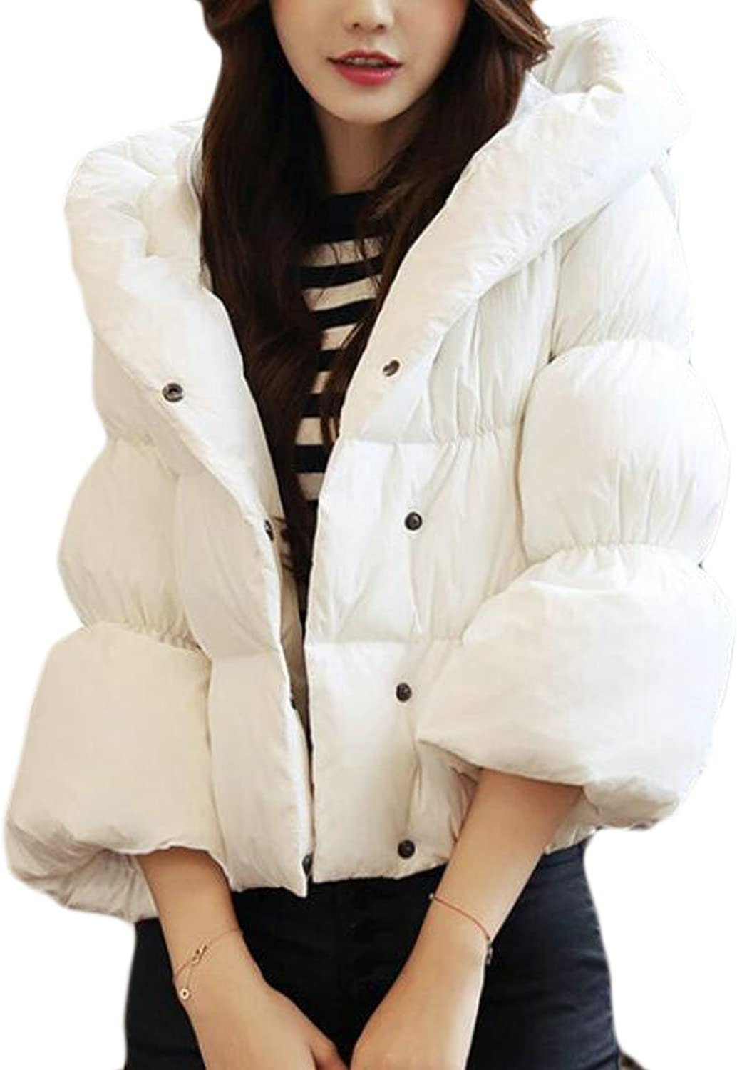GAGA Womens Solid Classic Bell Sleeve Hooded Short Down Jacket