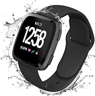 Lintelek Silicone Replacement Bands Compatible with Fitbit Versa, Eco-Friendly Wristband Breathable Soft Bands Washable Straps for 5.5-8.5 Inches, Quick Drying