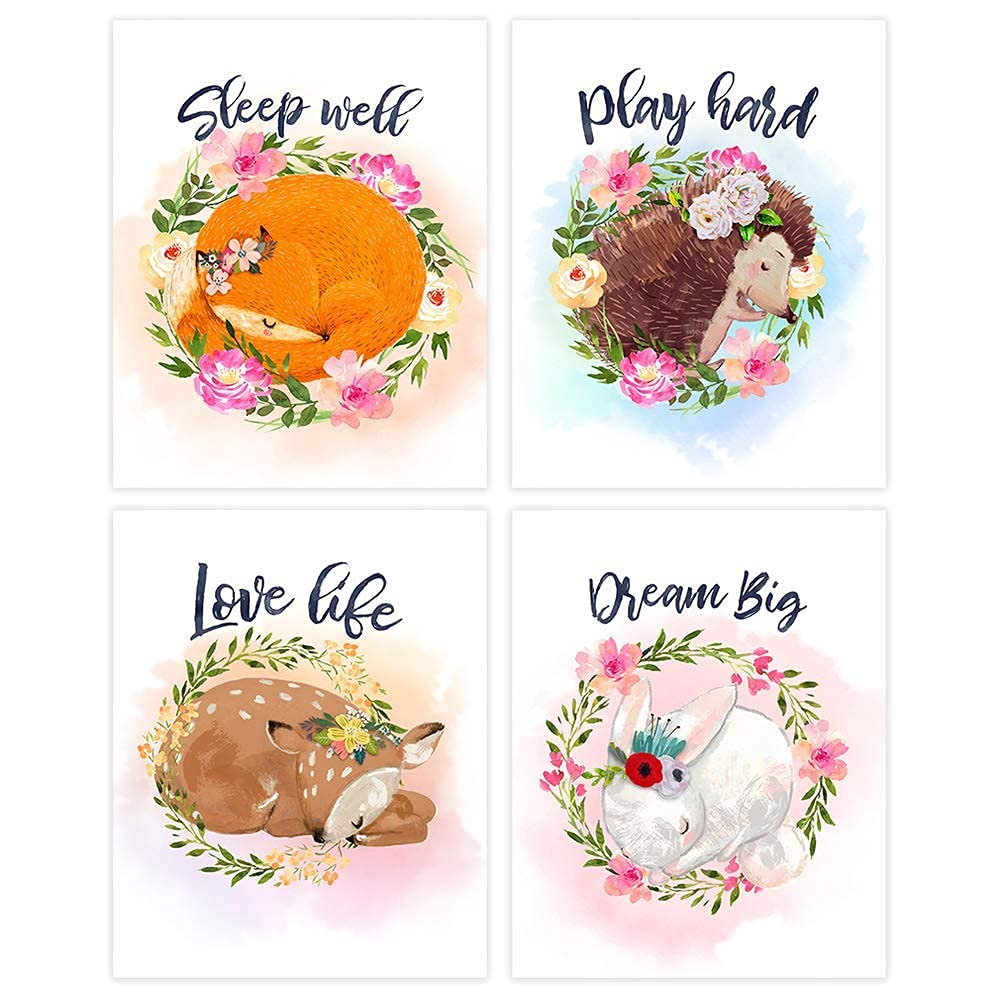 Woodland Animals Nursery Sale special price Wreath Max 41% OFF Wall Art Unf of Prints - 4 Set