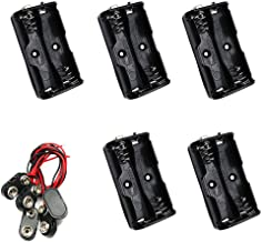 Yohii AA Battery Holder 2 x 1.5V with 9V I Type Snap Connectors - Pack of 5