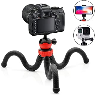 Marklif Flexible Gorillapod Tripod with 360° Rotating Ball Head Tripod for All DSLR Cameras(Max Load 1.5 kgs) & Mobile Phones + Free Heavy Duty Mobile Holder(Black) (13Inch, Black and Red)