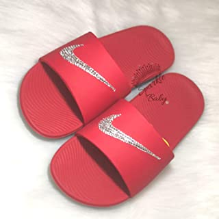 Nike Slide Kawa Women's Red ~ Swarovski Bedazzled Shoes Bling Nike Customized for you by Sparkle Me Baby 2U