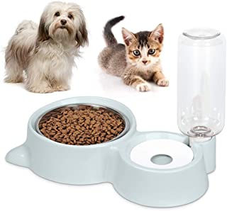 Anyifan Stainless Steel Dog Bowl Detachable Self-Distributing Gravity Pet Water Drinker and Feeder, ABS Resin Double Dog Cat Bowl Stainless Steel Dog Bowl Automatic Water Dispenser