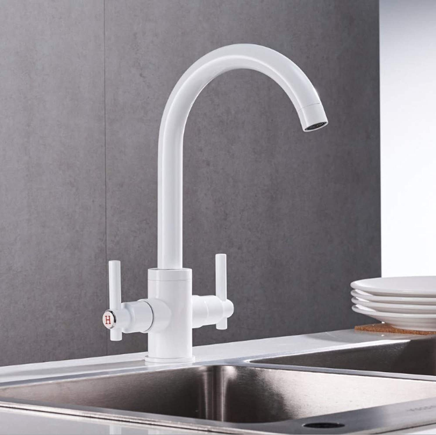 Bathroom Sink Basin Lever Mixer Tap Modern Kitchen Sink Single Hole Double Handle Hot and Cold Water Faucet Brass White Paint Can redate Mixing Faucet