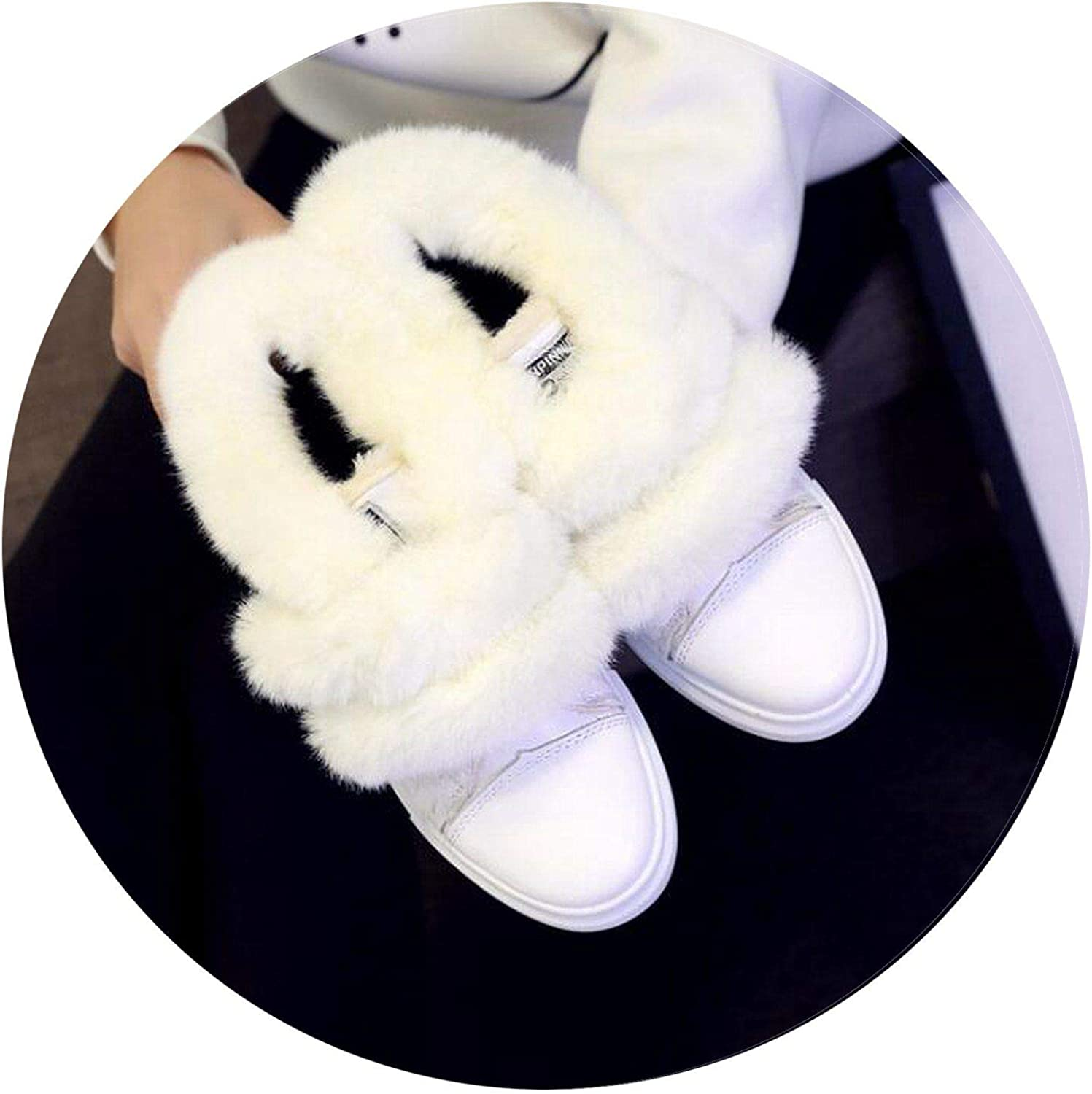 Summer-lavender Women Boots Winter Cotton shoes Woman Warm Snow Boots Fur Flat Ankle Boots Black White