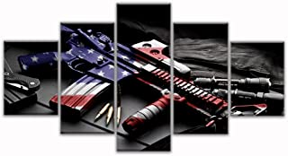 VIIVEI Retro Gun American Flag Military Canvas Print Art Independence Day Home Decor Wall Art Pictures for Living Room 5 Panel Large Poster Painting Framed Ready to Hang (60
