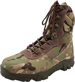 01e4396062ba4 Yudesun Chaussures Homme Travail Militaires Rangers - Combat Bottes  Cheville Tactique Plateforme Cuir Lacets Armée de