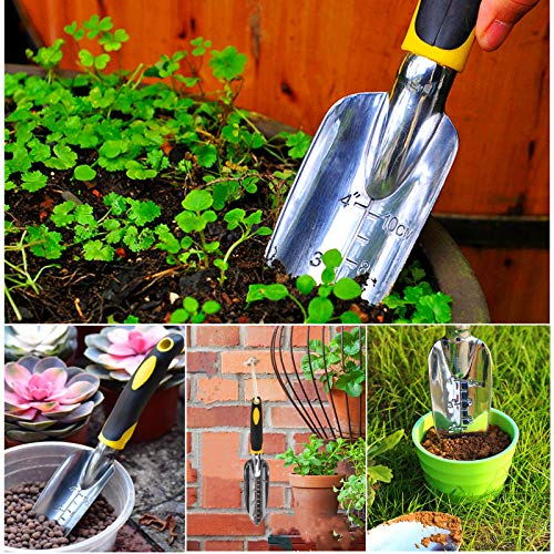 SXBBSMC Garden Trowel, Hand Shovel, 1 Piece Cast-Aluminum Heavy Duty with Soil Depth Mark Gardening Hand Tool, Small Professional Spade Trowel for Women Men Kids Digging Planting