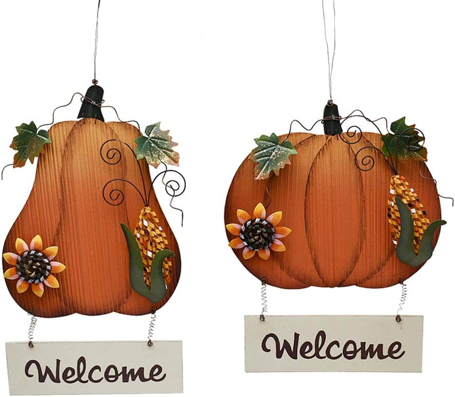 Kilipes 2set Wooden Bargain Pumpkin Welcome Fa Sign Special Campaign Hanging