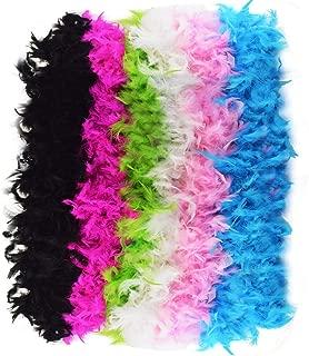 Jerbro 6 Stück Boa Federn Federn bunt weich für Damen Mädchen Festa Glamour Kostüm Party Geburtstag Karneval Junggesellinnenabschied - 2 Meter